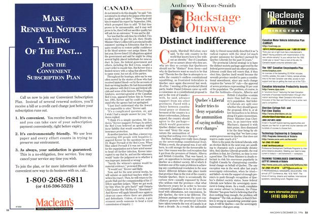 Article Preview: Distinct indifference, December 1996 | Maclean's