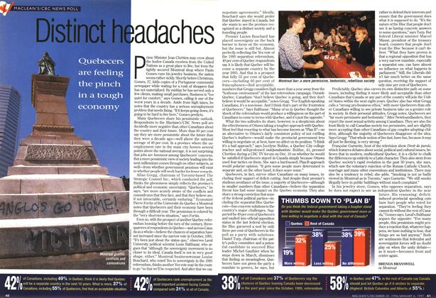 Article Preview: Distnct headaches, DECEMBER 30, 1996/JANUARY 6, 1977 1996 | Maclean's