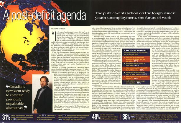 Article Preview: A post-deficit agenda, DECEMBER 30, 1996/JANUARY 6, 1977 1996 | Maclean's