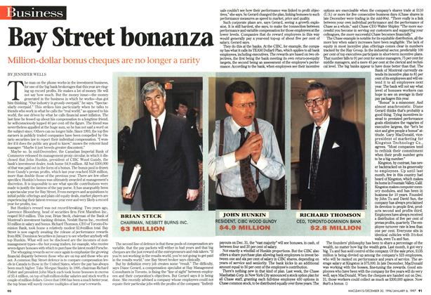 Article Preview: Bay Street bonanza, DECEMBER 30, 1996/JANUARY 6, 1977 1996 | Maclean's