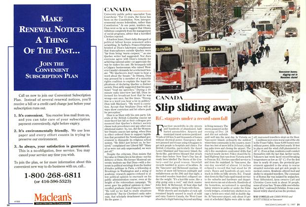 Article Preview: Slip sliding away, January 1997 | Maclean's
