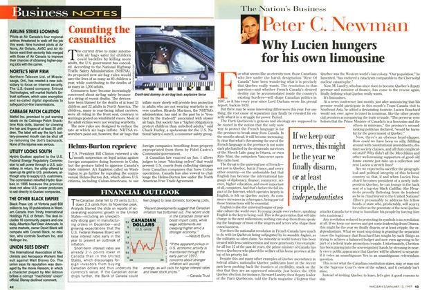 Article Preview: Why Lucien hungers for his own limousine, January 1997 | Maclean's