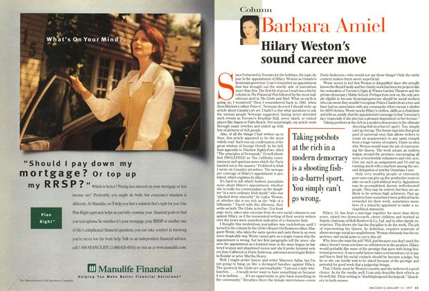 Article Preview: Hilary Weston's sound career move, January 1997 | Maclean's
