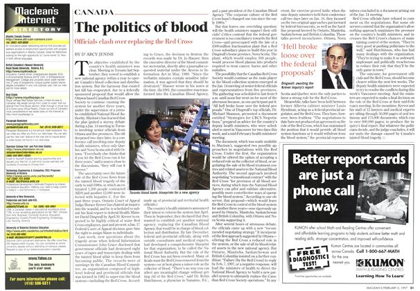 Article Preview: The politics of blood, February 1997 | Maclean's