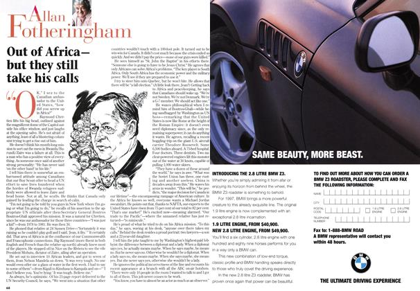 Article Preview: Out of Africa— but they still take his calls, February 1997 | Maclean's