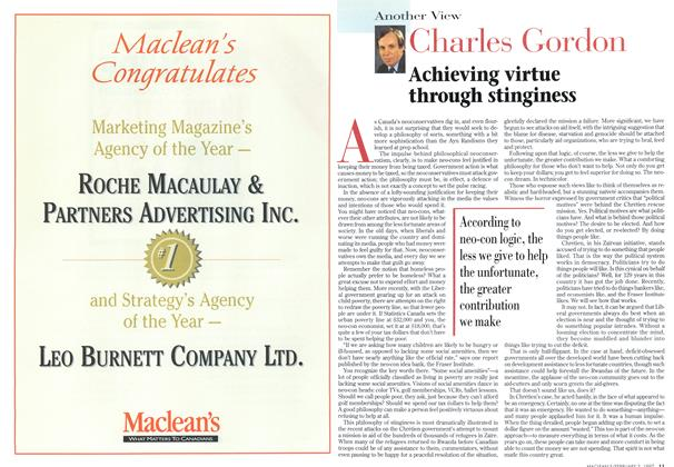 Article Preview: Achieving virtue through stinginess, February 1997 | Maclean's