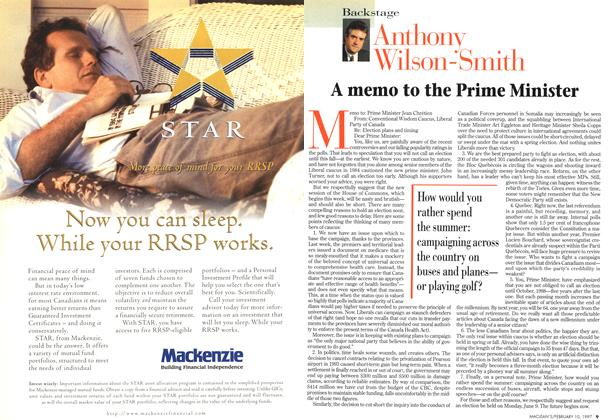Article Preview: A memo to the Prime Minister, February 1997   Maclean's