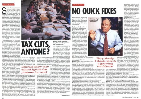 Article Preview: TAX CUTS, ANYONE?, February 1997 | Maclean's