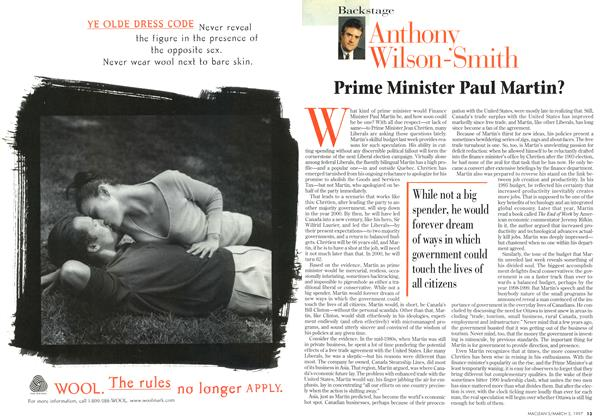 Article Preview: Prime Minister Paul Martin?, March 1997 | Maclean's