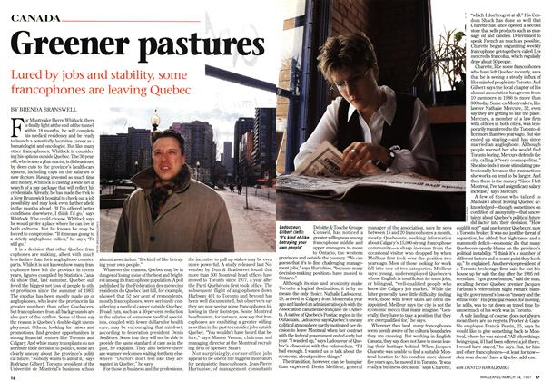 Article Preview: Greener pastures, March 1997 | Maclean's