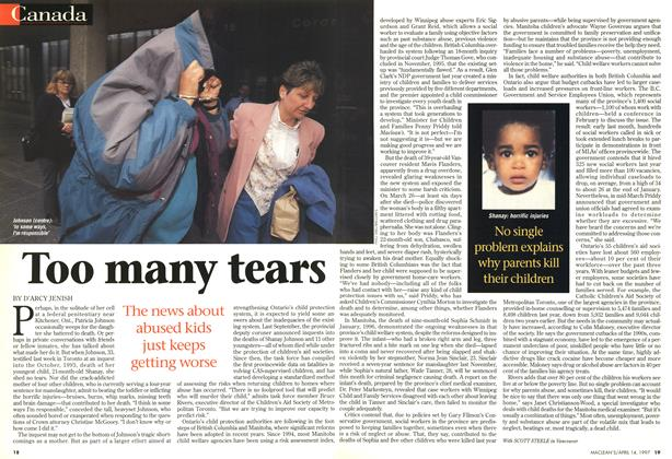 Article Preview: Too many tears, April 1997 | Maclean's