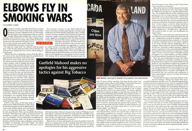Article Preview: ELBOWS FLY IN SMOKING WARS, April 1997 | Maclean's
