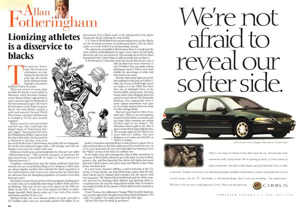 Article Preview: Lionizing athletes is a disservice to blacks, April 1997 | Maclean's