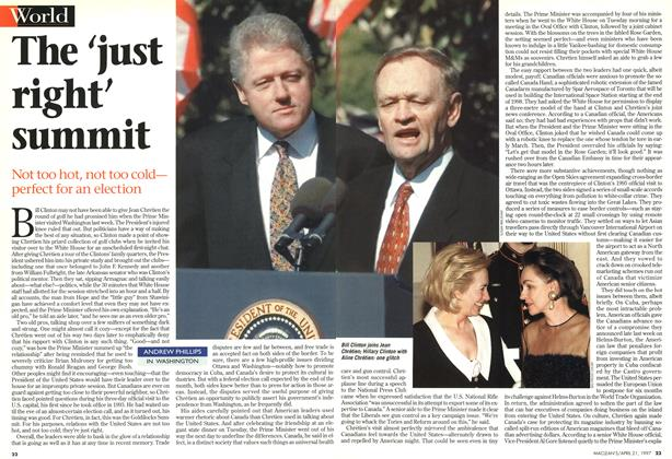 Article Preview: The 'just right' summit, April 1997 | Maclean's