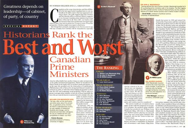 Article Preview: Historians Rank the Best and Worst Canadian Prime Ministers, April 1997 | Maclean's