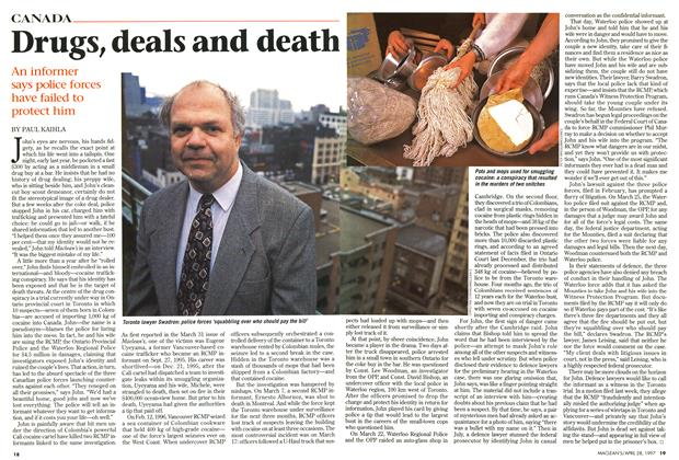 Article Preview: Drugs, deals and death, April 1997 | Maclean's