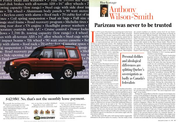 Article Preview: Parizeau was never to be trusted, May 1997 | Maclean's
