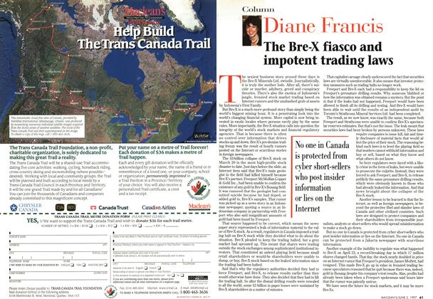 Article Preview: The Bre-X fiasco and impotent trading laws, June 1997 | Maclean's