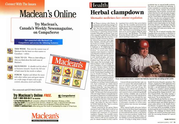 Article Preview: Herbal clampdown, June 1997 | Maclean's