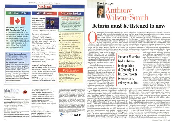 Article Preview: Reform must be listened to now, June 1997 | Maclean's
