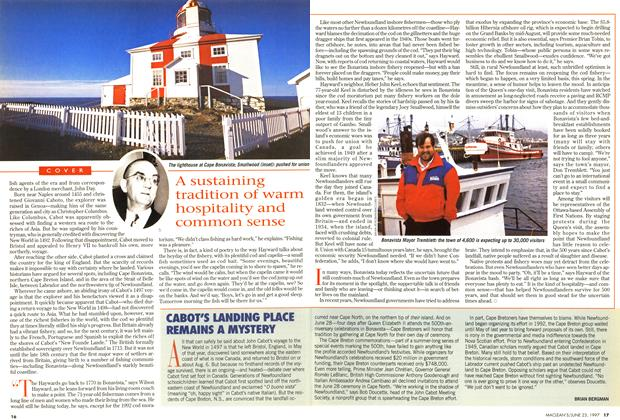 Article Preview: CABOT'S LANDING PLACE REMAINS A MYSTERY, June 1997 | Maclean's