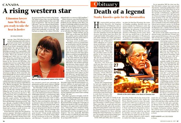 Article Preview: Death of a legend, June 1997 | Maclean's