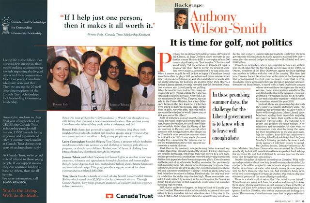Article Preview: It is time for golf, not politics, July 1997 | Maclean's