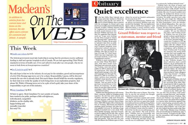 Article Preview: Quiet excellence, July 1997 | Maclean's