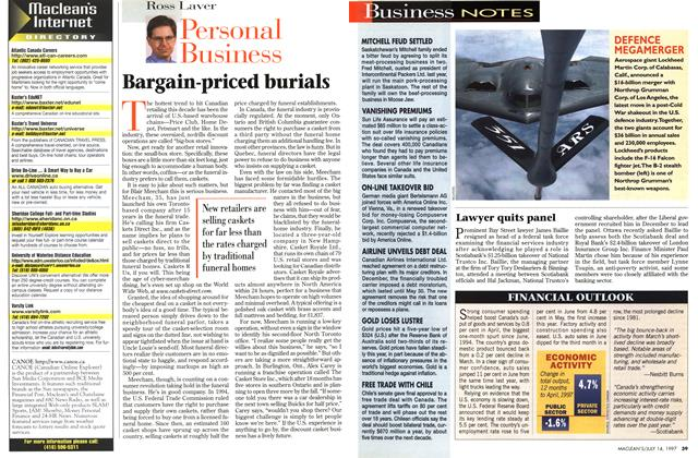 Article Preview: Bargain-priced burials, July 1997 | Maclean's