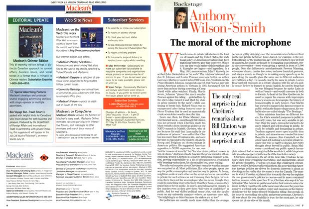 Article Preview: The moral of the microphone, July 1997   Maclean's