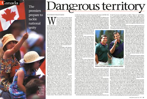 Article Preview: Dangerous territory, July 1997 | Maclean's