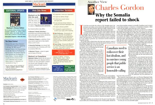 Article Preview: Why the Somalia report failed to shock, July 1997   Maclean's