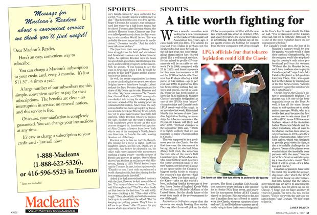 Article Preview: A title worth fighting for, August 1997 | Maclean's