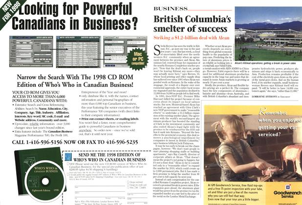 Article Preview: British Columbia's smelter of success, August 1997 | Maclean's