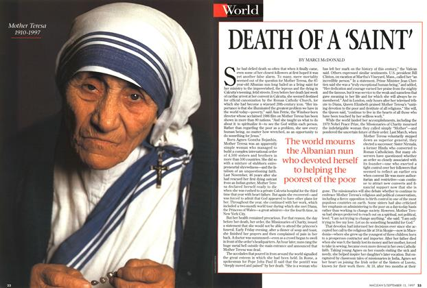 Article Preview: DEATH OF A 'SAINT', September 1997 | Maclean's