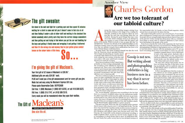Article Preview: Are we too tolerant of our tabloid culture?, September 1997 | Maclean's