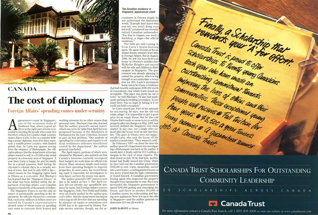 Article Preview: The cost of diplomacy, October 1997 | Maclean's