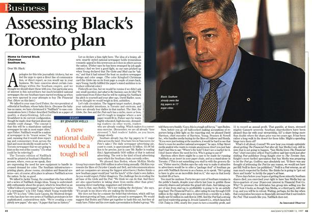 Article Preview: Assessing Black's Toronto plan, October 1997 | Maclean's