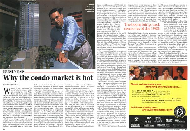 Article Preview: Why the condo market is hot, November 1997 | Maclean's
