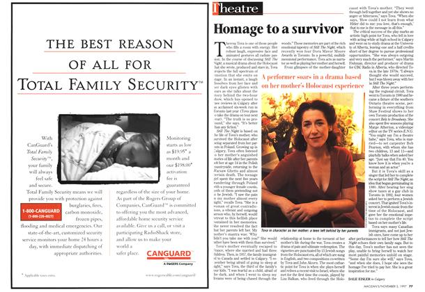 Article Preview: Homage to a survivor, November 1997 | Maclean's