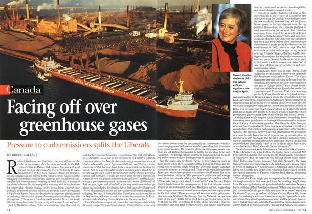 Article Preview: Facing off over greenhouse gases, November 1997 | Maclean's
