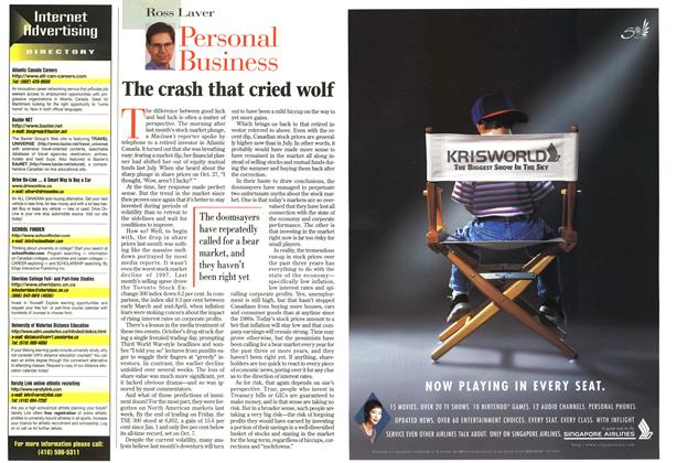 Article Preview: The crash that cried wolf, November 1997 | Maclean's