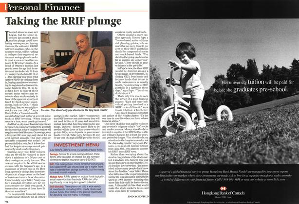 Article Preview: Taking the RRIF plunge, November 1997 | Maclean's