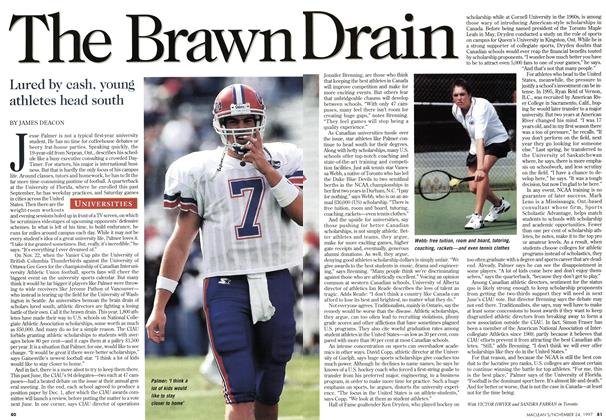 Article Preview: The Brawn Drain, November 1997 | Maclean's
