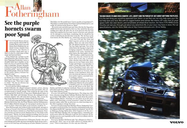 Article Preview: See the purple hornets swarm poor Spud, December 1997   Maclean's