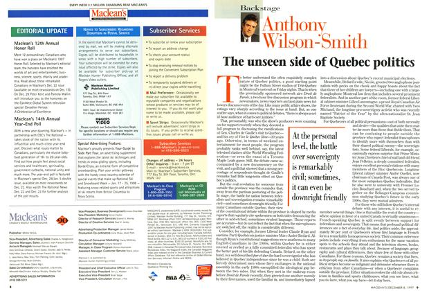 Article Preview: The unseen side of Quebec politics, December 1997 | Maclean's