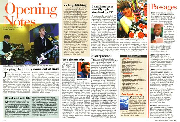 Article Preview: Opening Notes, December 1997 | Maclean's
