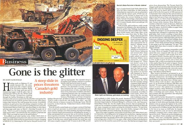 Article Preview: Gone is the glitter, December 1997 | Maclean's