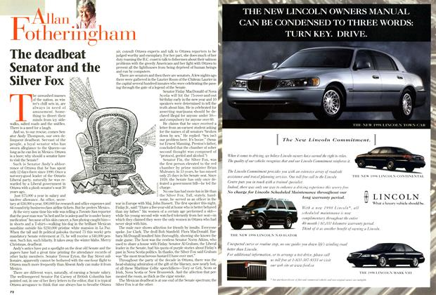 Article Preview: The deadbeat Senator and the Silver Fox, December 1997 | Maclean's