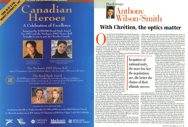 Article Preview: With Chrétien, the optics matter, December 1997 | Maclean's